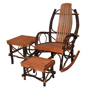 3 Pc Hickory U0026 Oak Rocker Set By Hickory Mountain Furniture Amish Crafted  In The USA