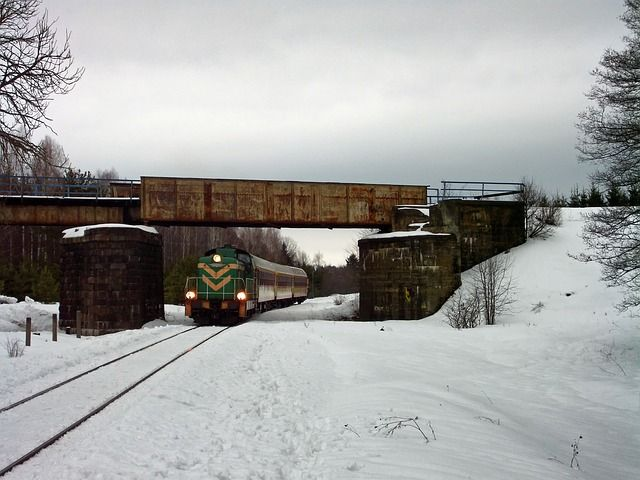 Polonia, Paisaje, Tren, Ferrocarril, Pistas, Invierno