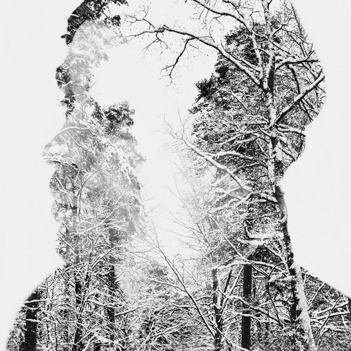 """Winter Melancholy"" series by Christoffer Relander. In-camera, multiple exposure portraits. #art #photography"
