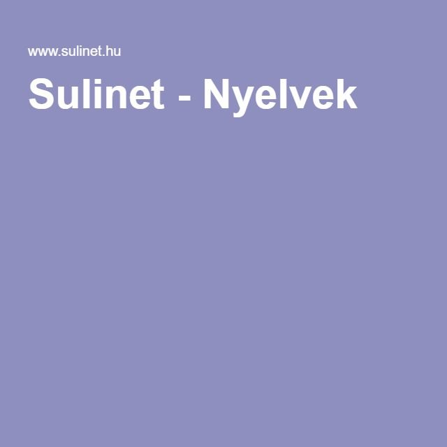 Sulinet - Nyelvek