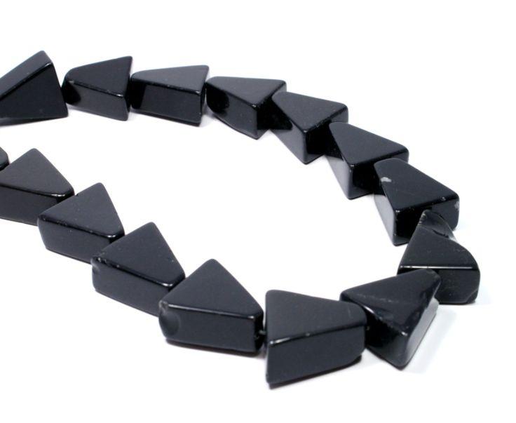Chunky black agate triangular beads #beads #agate #black #beading #gemstone #semiprecious