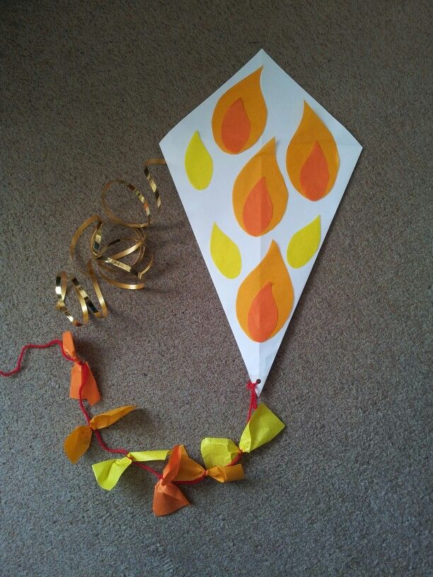 Kite used at Pentecost Messy Church. Pentecost craft - Materials: A3 photocopy paper cut into square, (2 adjacent sides folded to meet along diagonal & taped at back) tissue paper, curling ribbon, wool, glue, sellotape, hole punch