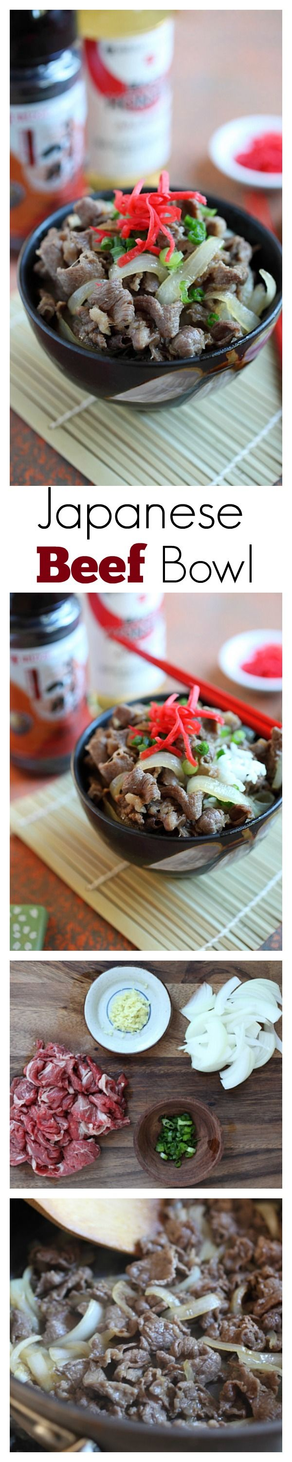 Japanese Beef Bowl Gyudon - easy & delicious simmered beef with onion, soy sauce and rice. Takes 15 minutes to make | rasamalaysia.com