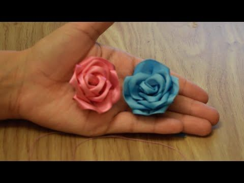 Make Rose Flower from Satin Ribbon.DIY. - YouTube