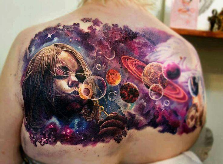 Child space galaxy tattoo