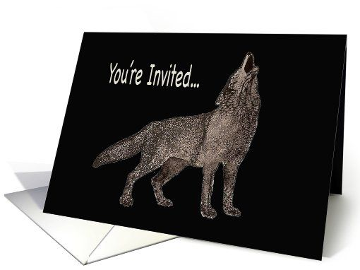 watercolor painting of a howling wolf party invitation