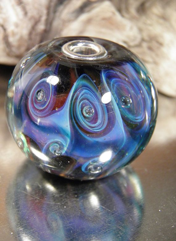 3d pink and blue big swirl bead by on etsy
