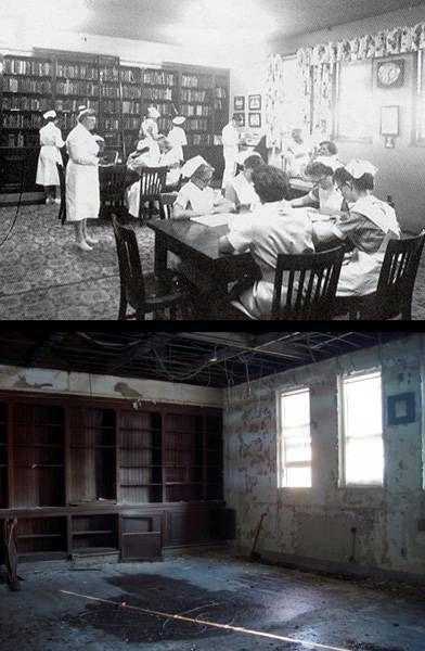 Nursing School Library (Before And After). Pilgrim State Hospital