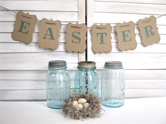 I love the gorgeous styling Alisa from Blue Pearls has done with the old jars, bunting and little nest here.