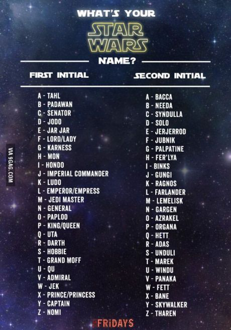 What's your Star Wars name                                                                                                                                                                                 More