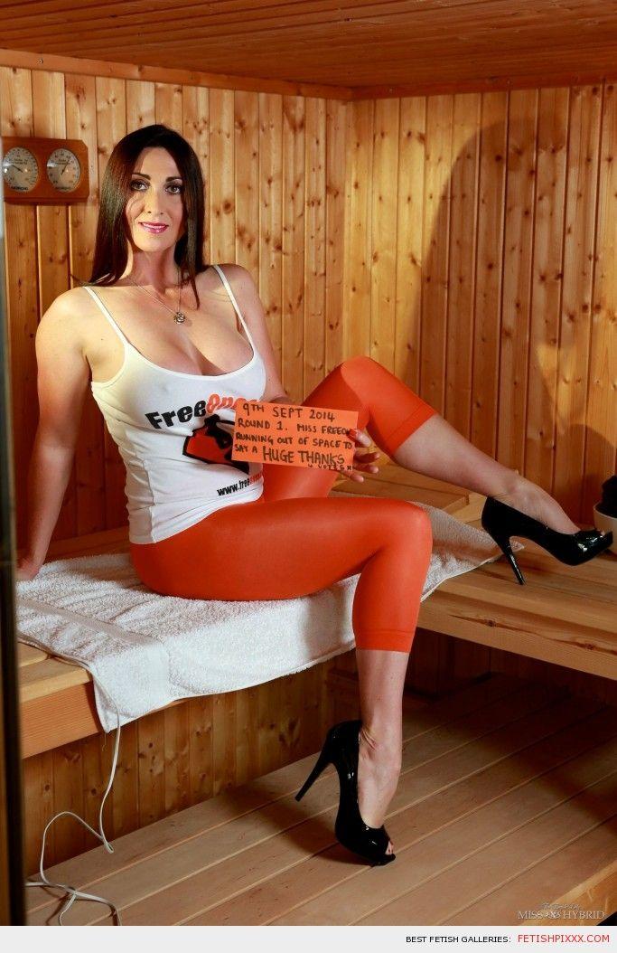 Miss Hybrid orange leggings and high heels