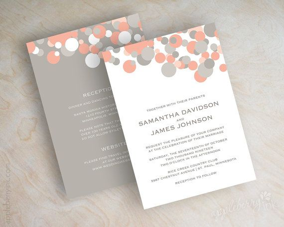 Peach and grey polka dot wedding invitations, peach and ...