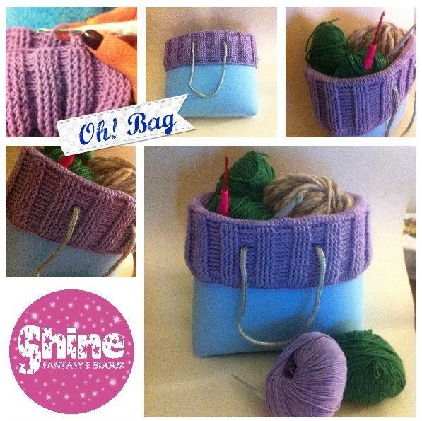 Borsa in stile O Bag, realizzata in gomma eva, cordocini e bordo in uncinetto, lana, punto costa