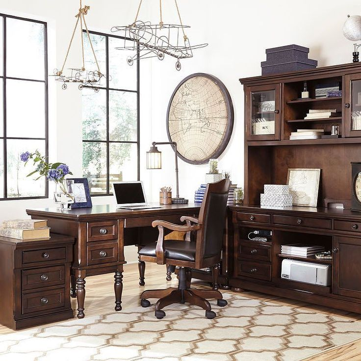 That Furniture Outlet - Minnesota's #1 Furniture Outlet. We have exceptionally low everyday prices in a very relaxed shopping atmosphere. Ashley Porter - Home Office Storage Leg Desk Corner Table Credenza with Tall Desk Hutch File Cabinet & Swivel Chair thatfurnitureoutlet.com #thatfurnitureoutlet  #thatfurniture  High Quality. Terrific Selection. Exceptional Prices.