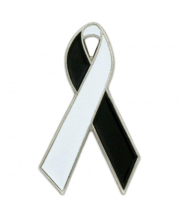 PinMart's White and Black Awareness Ribbon Enamel Lapel Pin