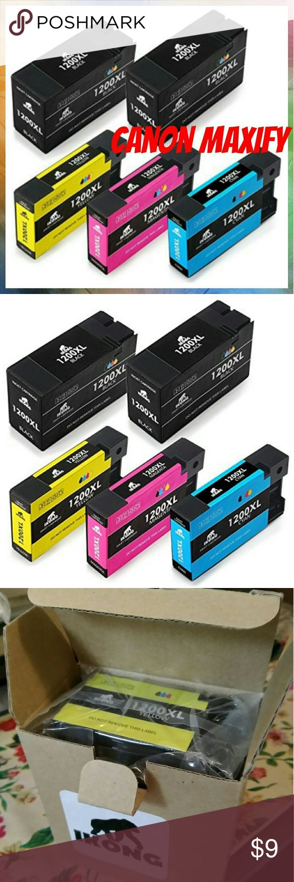 """5x Canon Maxify Printer Ink What is included: Canon PGI-1200XL Compatible Ink Cartridge Replacement (2 Black, 1 Cyan, 1 Magenta, 1 Yellow, Total 5-pack)  Printer Compatibility:Canon Maxify MB2020 MB2320 MB2050 MB2350 MB2120 MB2720 Inkjet Printers  High Capacity:""""XL"""" High Yield ink cartridges enjoy your $AVING$ as well as the times to replace new cartridges.  *Bundle for 15% OFF!* Other"""