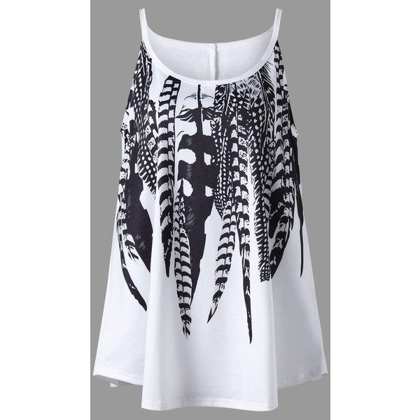 Plus Size Feather Print Cami Top ($11) ❤ liked on Polyvore featuring tops, cami tank tops, womens plus tops, plus size tanks, women plus size tops and plus size cami