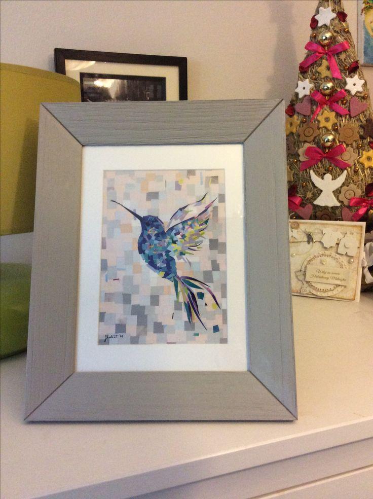 Blue hummingbird made by a Piece of Paper City, Christmas gift ideas  Niebieski koliber,