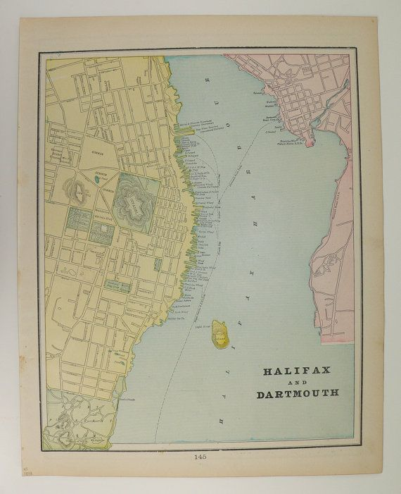Antique Quebec Map Vintage Halifax Map of Dartmouth Canada Old 1898 City Street Travel Map Unique Gift Under 20 Gift for Home Genealogy by OldMapsandPrints on Etsy