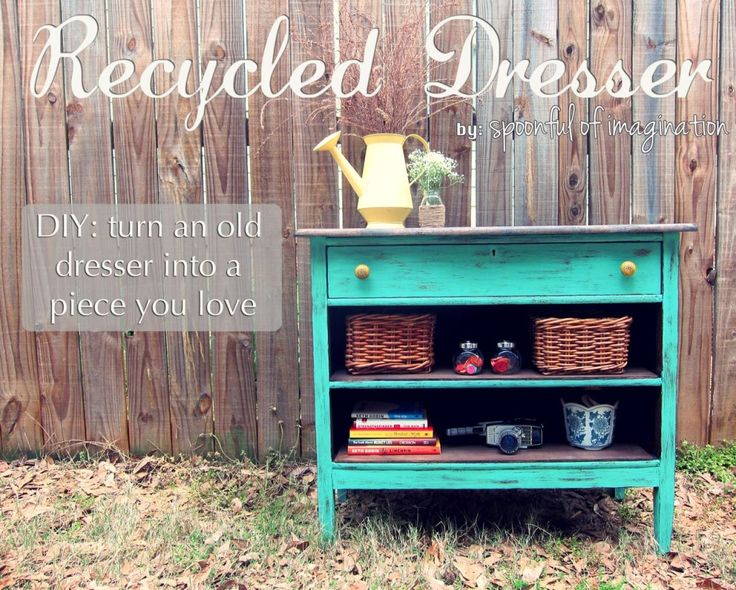 vintage recycled dresser...This is exactly what I'm gong to do in our bedroom since we don't have anything but a bench right now for our tv!