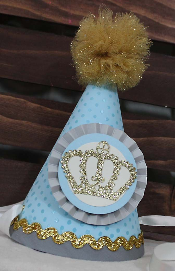 Boy / Little Prince Birthday Party Hat. Blue and gold. Customizable. by CharmingTouchParties on Etsy
