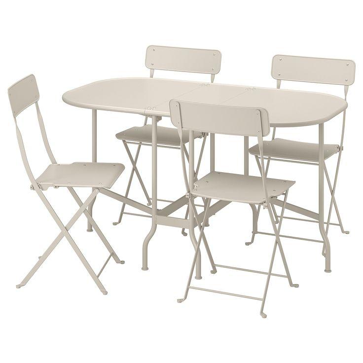 Saltholmen Table 4 Chaises Pliantes Exterieur Beige Chaise Pliante Exterieur Chaise Fauteuil Et Ikea