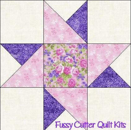 Scrappy Fabric Friendship Star Easy To Make Pre-Cut Quilt Blocks Top Kit
