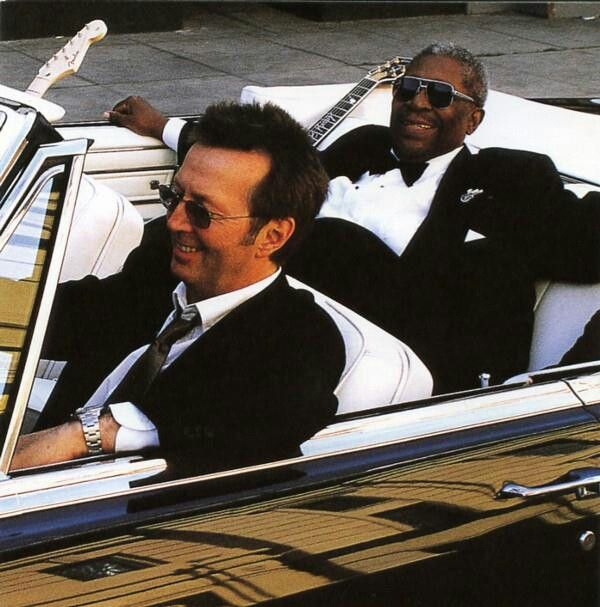 "iconic musicians Eric Clapton & B.B. King photographed by Robert Sebree. Cover image for the blues album ""Riding with the King"" (2000). via you tube"