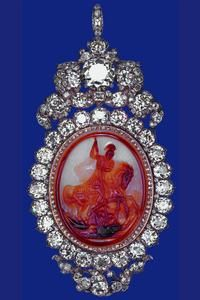 The Diamond Cameo Badge.  Originally made for George IV, the badge was given as a wedding present to Prince Albert from Queen Victoria who wore it after his death.