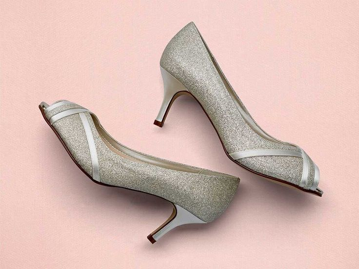 Margie - Silver Shimmer Peep Toe Shoes