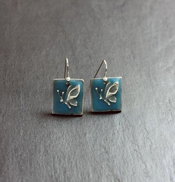 Blue Butterfly earrings  glow in the dark  by EarthlyCreature
