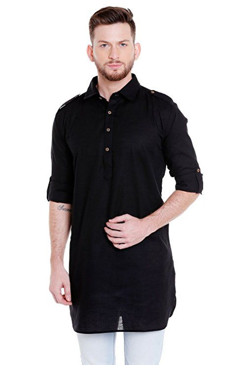 96813458208 In-Sattva Men's Pullover Pathani Rollup Sleeve Kurta Tunic with Shoulder  Strap; Black; SM