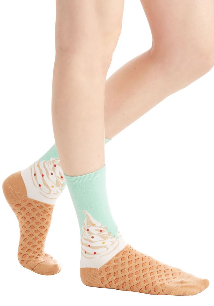 To Each Her Cone Socks - Multi, Darling, Food, Knit, Novelty Print, Casual