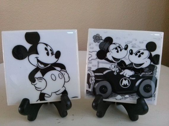 Vintage Mickey Mouse Coasters by RNBCreativeCoasters on Etsy, $20.00