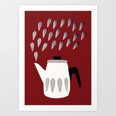 Steaming Coffeepot in Grey Art Print by The Bearded Bird. - $14.00