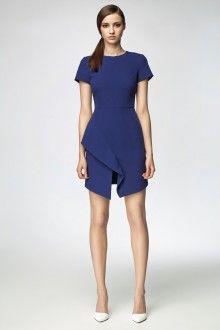 MISEBLA kobaltowa sukienka z zakładaną falbaną