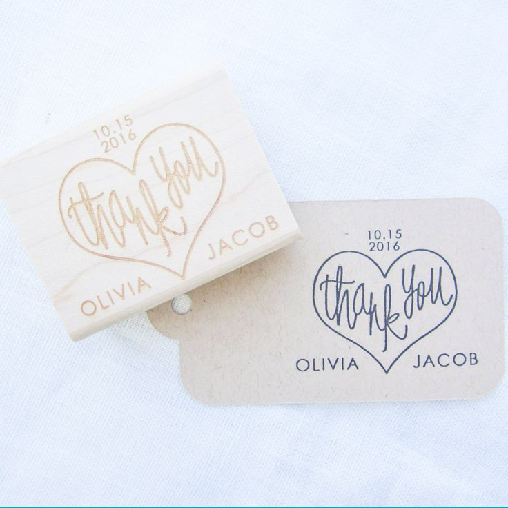 Custom Wedding Thank You Stamp - personalized wedding calligraphy stamp with names and date - H4002 by papersushi on Etsy https://www.etsy.com/ca/listing/199009869/custom-wedding-thank-you-stamp