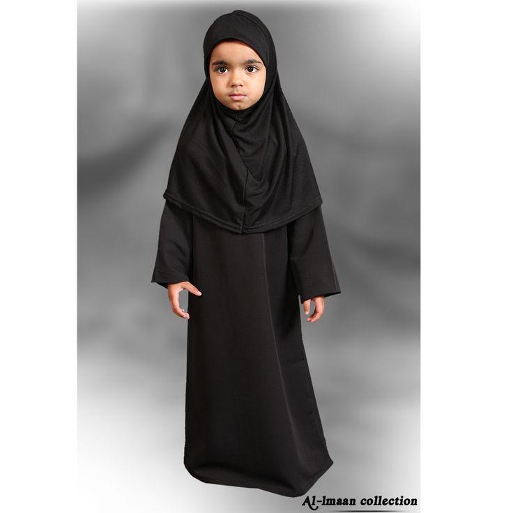 Girls Plain Black Abaya