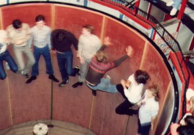 The Rotor was a common ride that unfortunately has all but vanished from parks. This is the barrel that pins you to the wall while the floor drops!