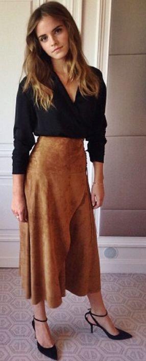 Elle - Emma Watson - Camel Suede Midi Skirt Fall Celebrity Street Style Inspo