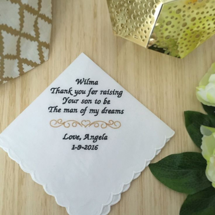 Personalised Wedding Gifts For Bride And Groom Australia : Gift for mother of the groom; personalised handkerchief; wedding ...