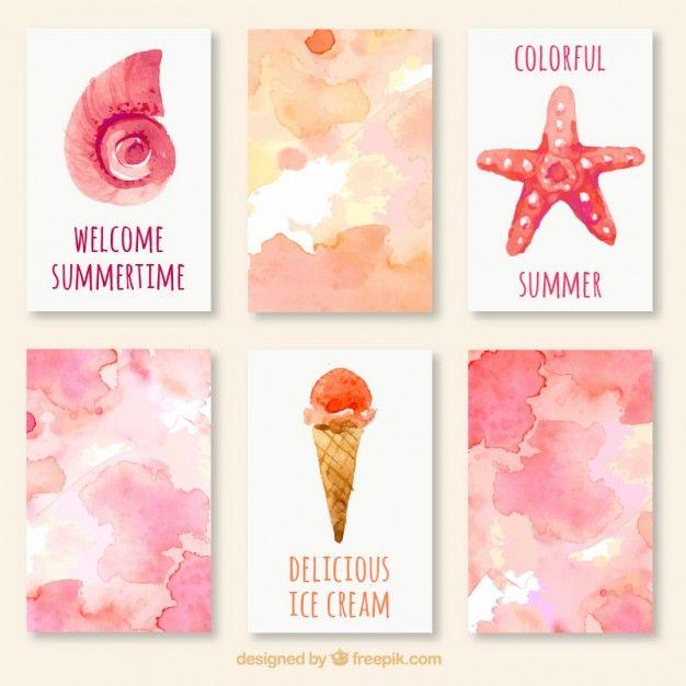 carte acquerello Carino estate Vettore gratuito