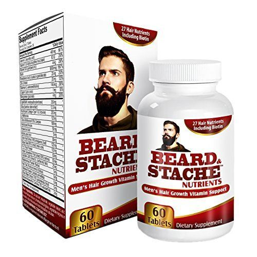 Supports healthy looking hair growth by providing Biotin (5000 mcg) + herbal extracts + vitamins + minerals for maximum beard growth / mustache growth / beard health
