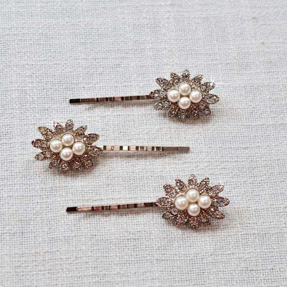 LAST ONE Set of 3 Beautiful Handmade Vintage Inspired Crystal Rhinestone and Pearl Bridal Hair Pins, Bridal, Wedding (Pearl-870)