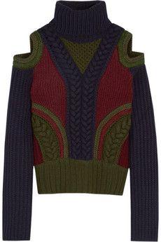 Alexander McQueen Cutout wool-blend turtleneck sweater | NET-A-PORTER