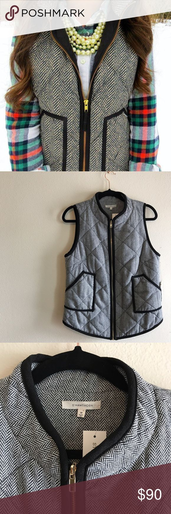 Herringbone Vest Gorgeous vest from 41 Hawthorn. NWT never been worn. No holes or stains. Exact look a like from the J Crew Herringbone Vest. Pocket detail & gold zipper. Wear it multiple ways, super versatile. Can be easily dressed up or down. Bought from an online clothing site called stitch fix and never got around to wearing it. Bundle to save more  41 Hawthorn Jackets & Coats Vests