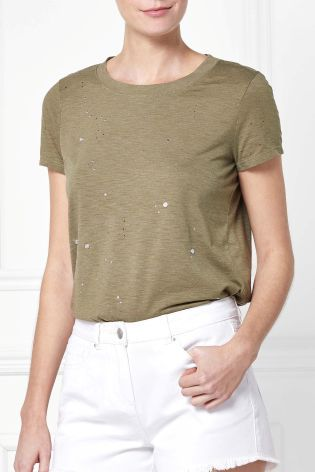 Buy Sage Stud T-Shirt from Next Israel