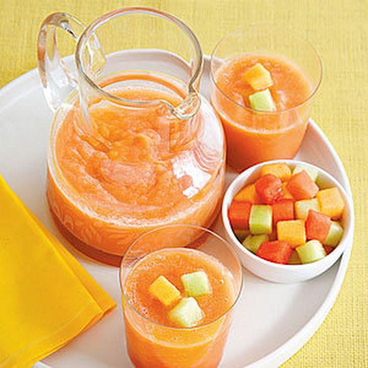 Triple Melon Smoothie Recipe Beverages with watermelon, orange juice, honey, cantaloupe, honeydew melon