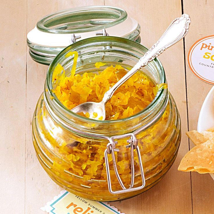 Yellow Summer Squash Relish Recipe -My friends can barely wait for the growing season to arrive so I can make this incredible relish. The color really dresses up a hot dog. —Ruth Hawkins, Jackson, Mississippi