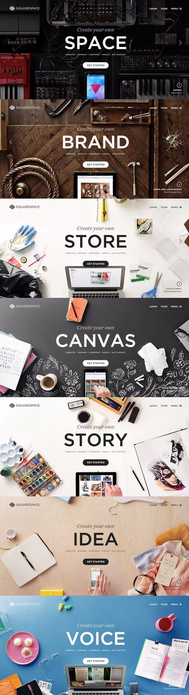 Although it only show the homepage, I like the various different layouts and how it's centered around the focal word. Each layout has a balanced composition as well as a specific color palette. It also gives you different type of moods that demonstrate the kind of website that you might want to promote.